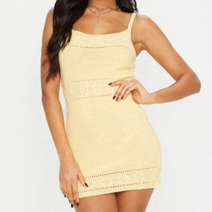 PLT YELLOW TEXTURED KNITTED STRAPPY MINI DRESS